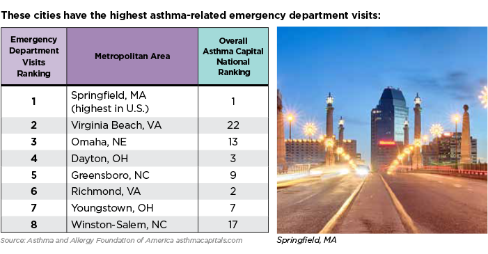 Asthma Emergency Room Visits by City