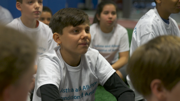 Matthew Tackles Asthma at football camp for kids with asthma